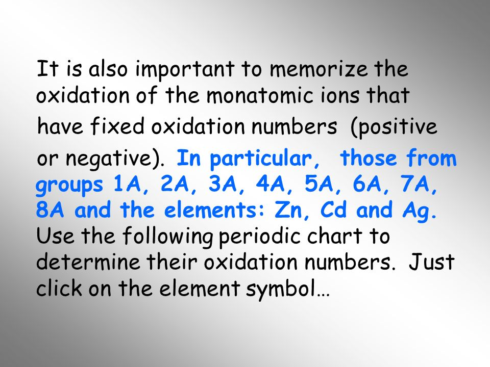 It is also important to memorize the oxidation of the monatomic ions that