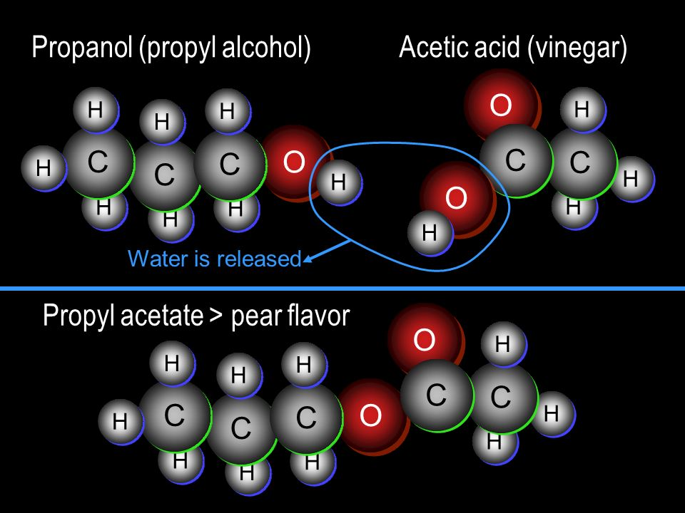 Propanol (propyl alcohol) Acetic acid (vinegar)