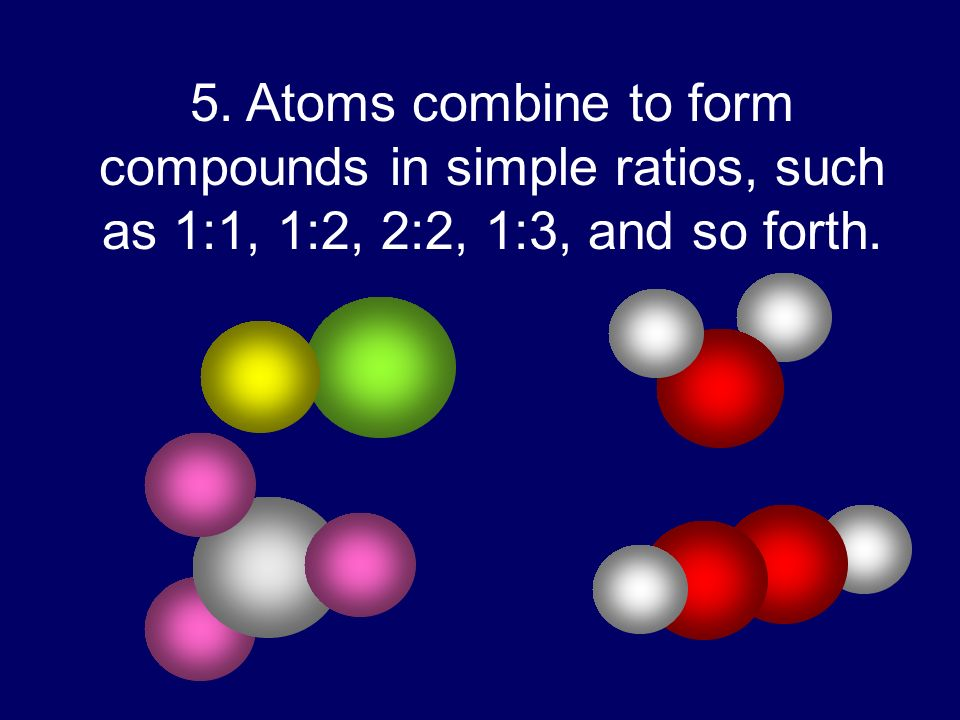 5. Atoms combine to form compounds in simple ratios, such as 1:1, 1:2, 2:2, 1:3, and so forth.