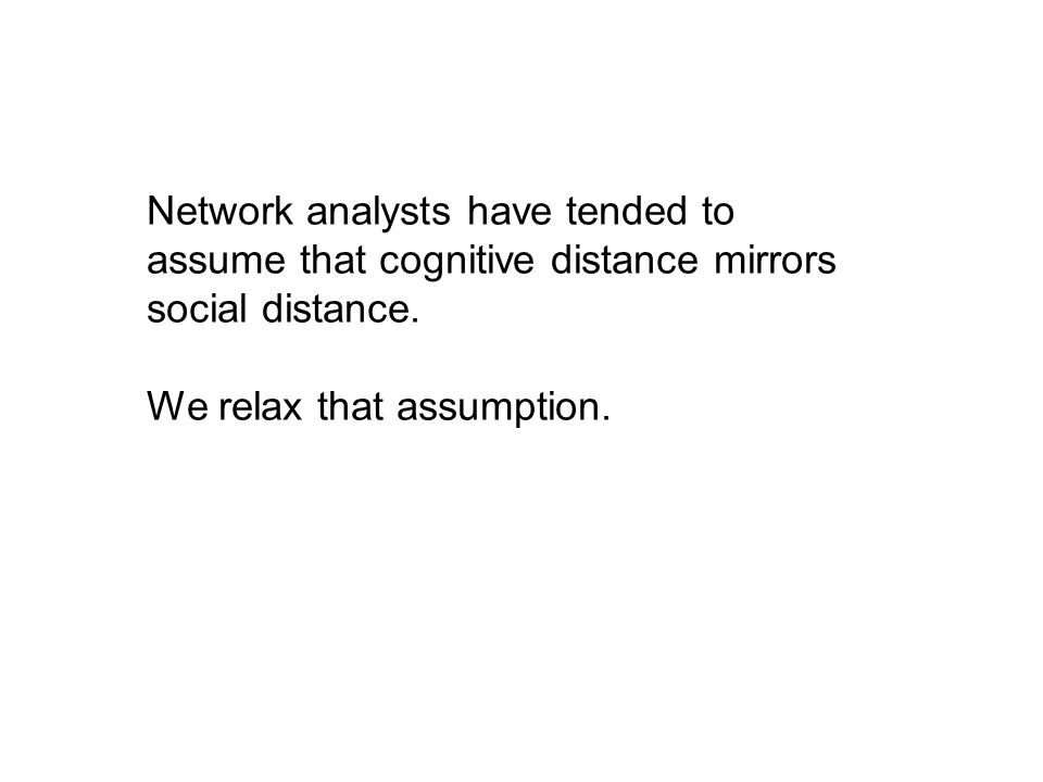 Network analysts have tended to assume that cognitive distance mirrors social distance.