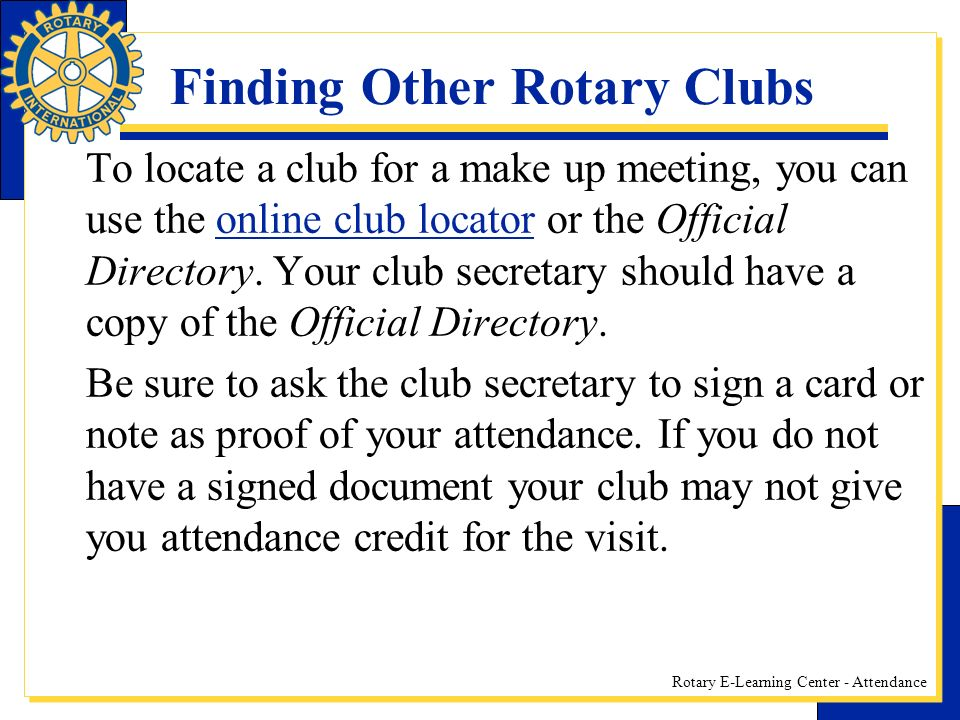 Finding Other Rotary Clubs