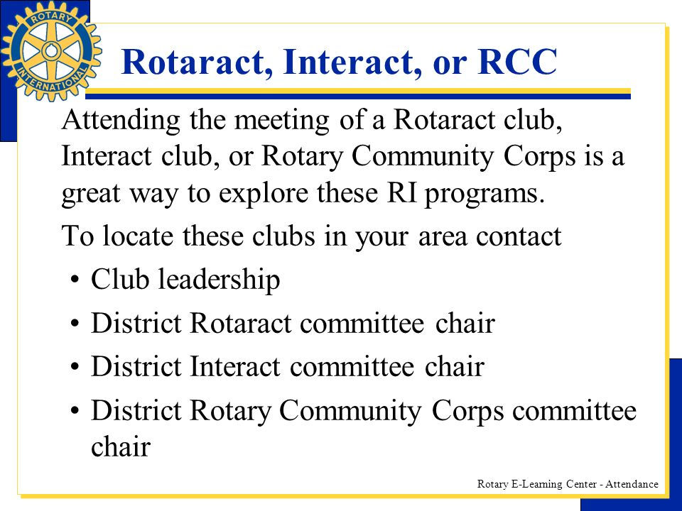 Rotaract, Interact, or RCC