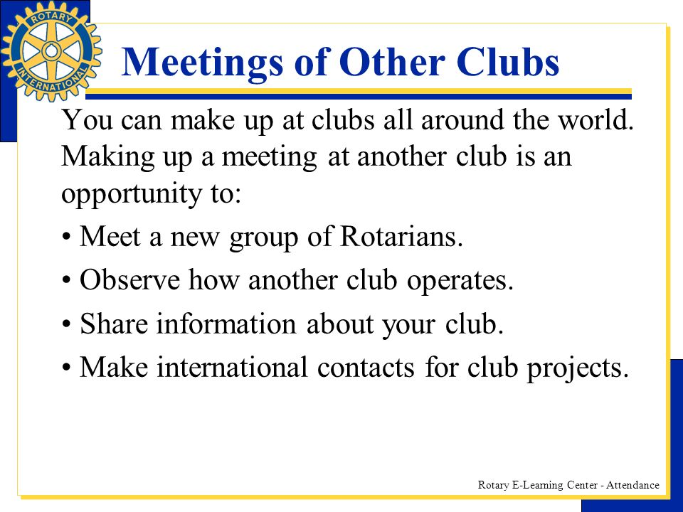 Meetings of Other Clubs