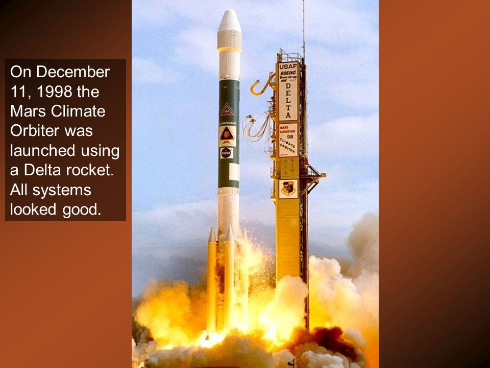 On December 11, 1998 the Mars Climate Orbiter was launched using a Delta rocket.