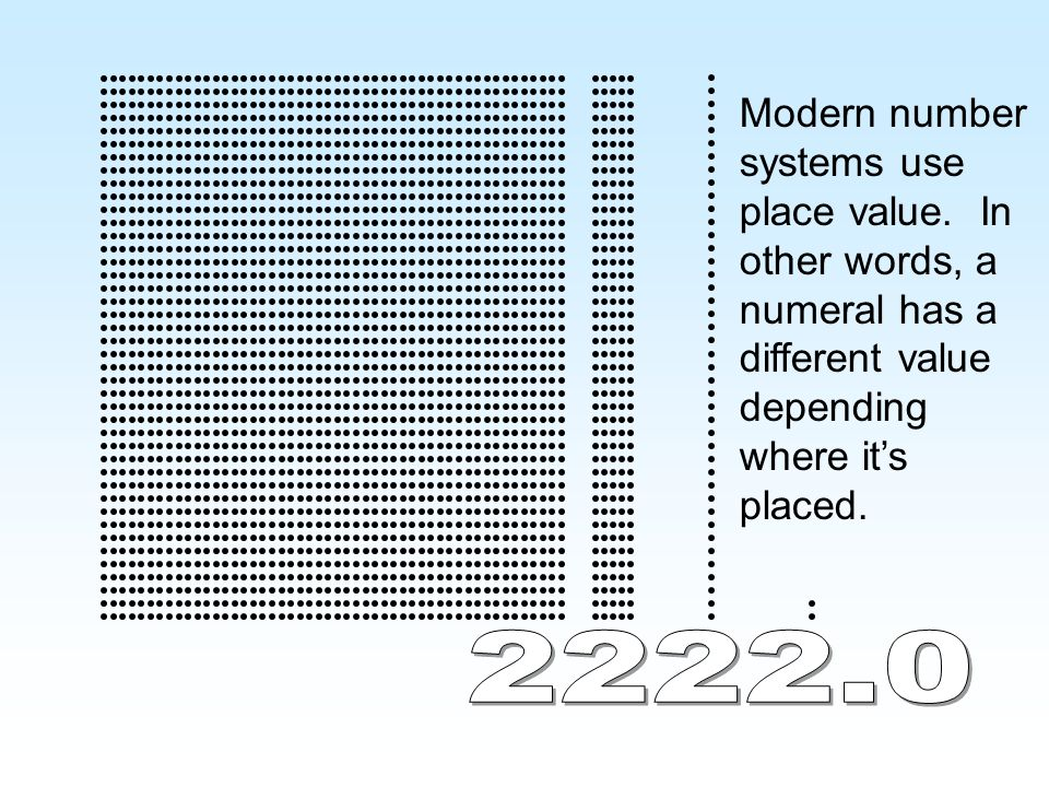 Modern number systems use place value