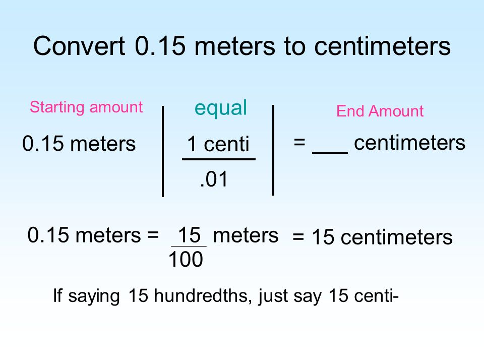 Convert 0.15 meters to centimeters