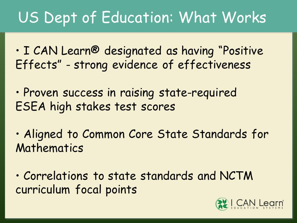 US Dept of Education: What Works