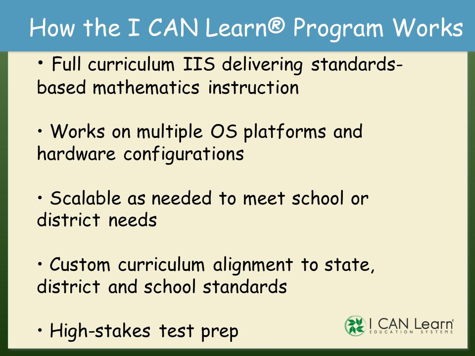 How the I CAN Learn® Program Works