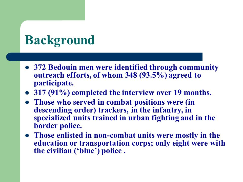 Background 372 Bedouin men were identified through community outreach efforts, of whom 348 (93.5%) agreed to participate.