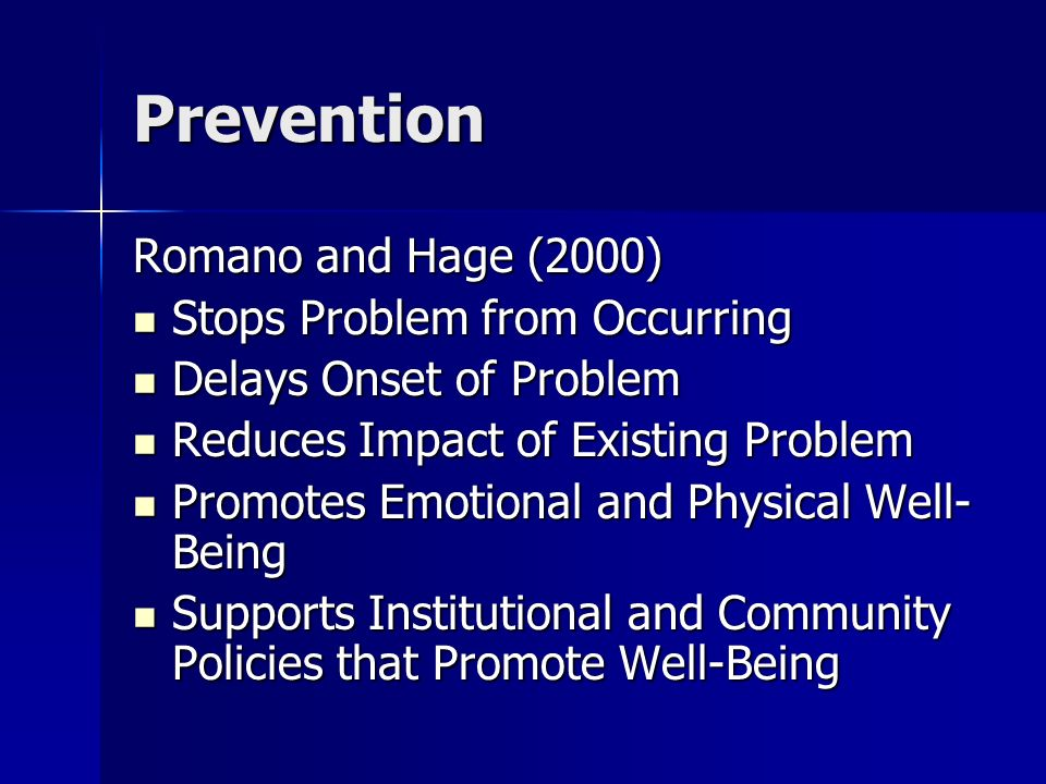 Prevention Romano and Hage (2000) Stops Problem from Occurring
