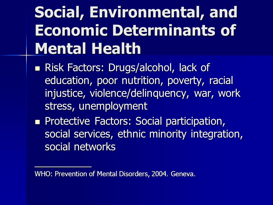 Social, Environmental, and Economic Determinants of Mental Health