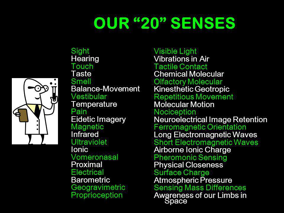 OUR 20 SENSES Sight Visible Light Hearing Vibrations in Air Touch