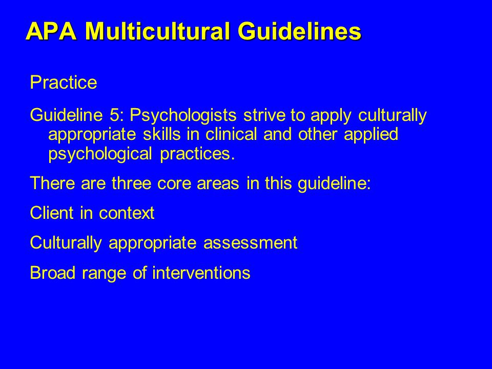 APA Multicultural Guidelines