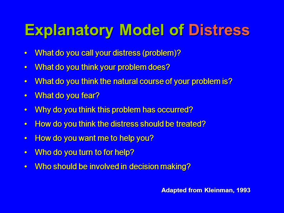Explanatory Model of Distress