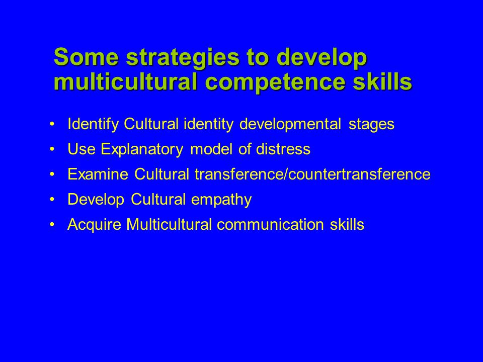 Some strategies to develop multicultural competence skills