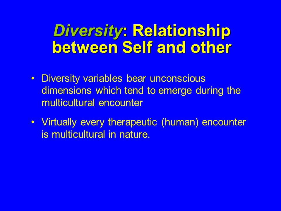 Diversity: Relationship between Self and other