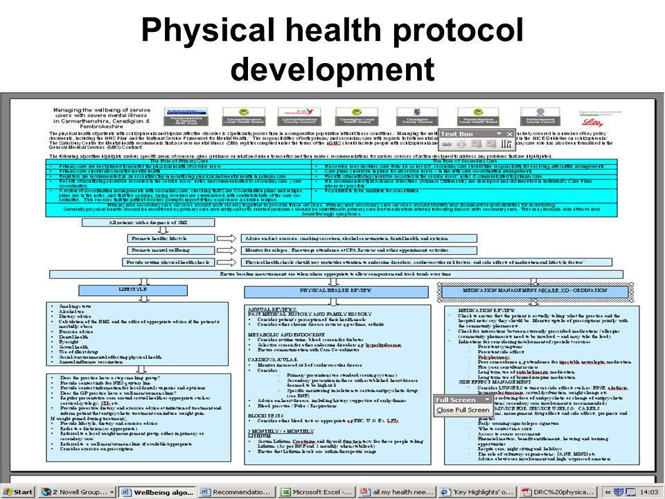 Physical health protocol development