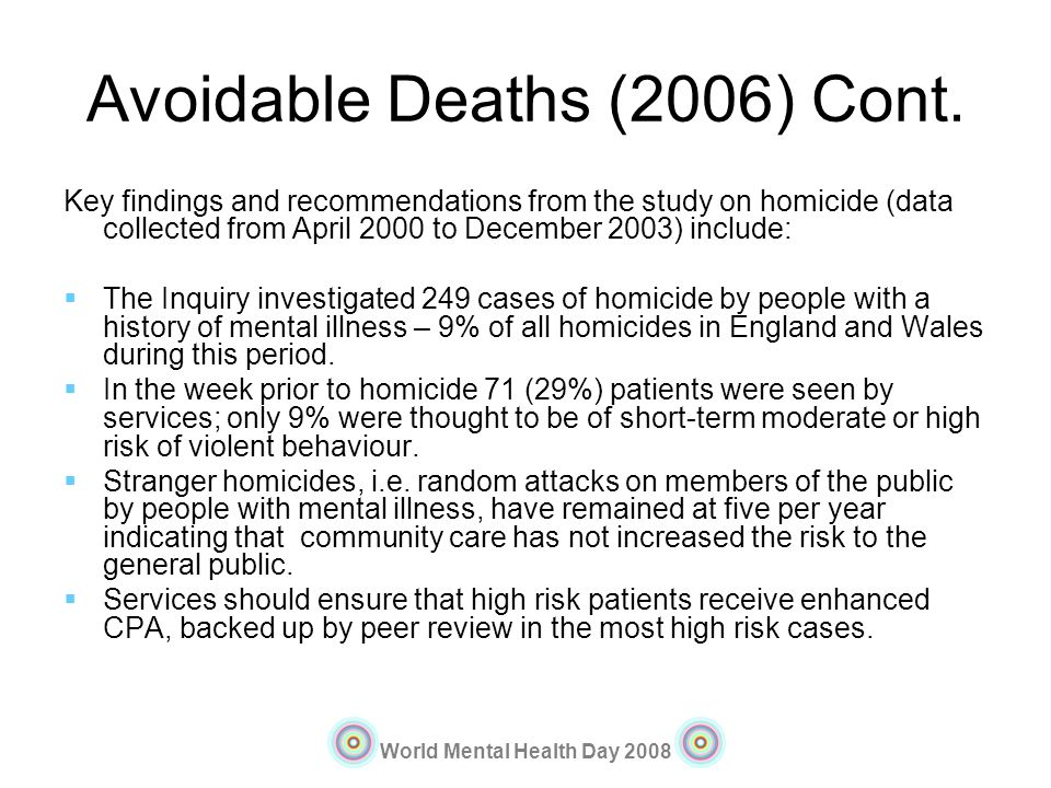 Avoidable Deaths (2006) Cont.