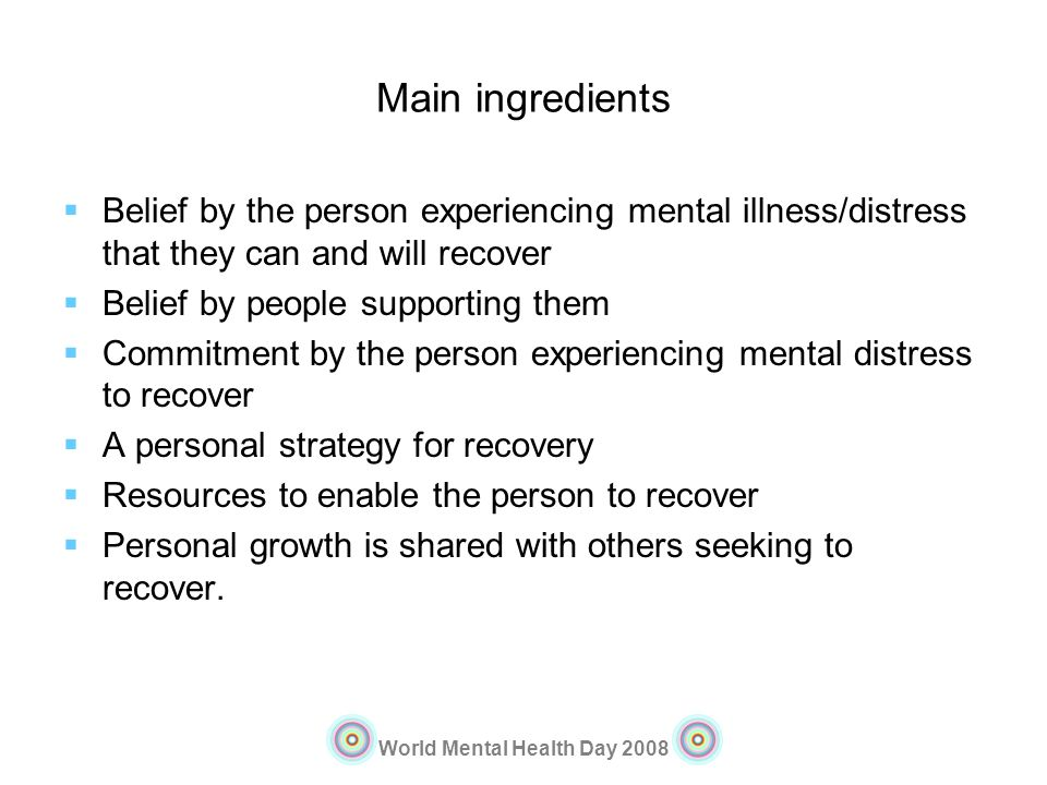 Main ingredients Belief by the person experiencing mental illness/distress that they can and will recover.