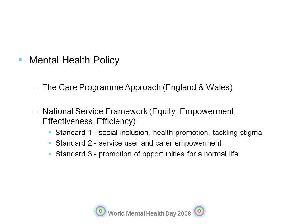 Mental Health Policy The Care Programme Approach (England & Wales)