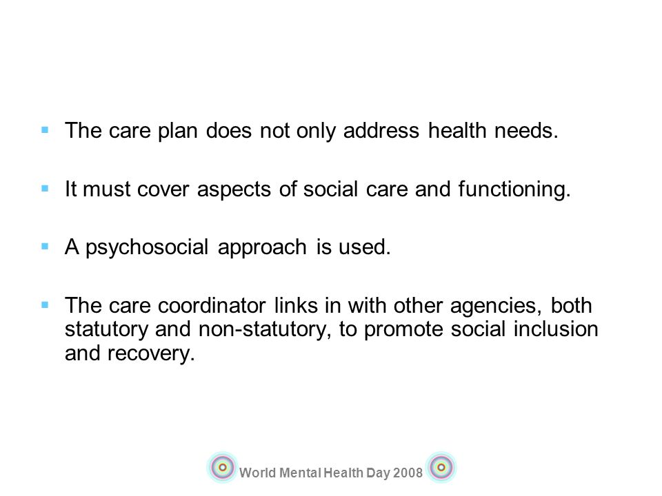 The care plan does not only address health needs.