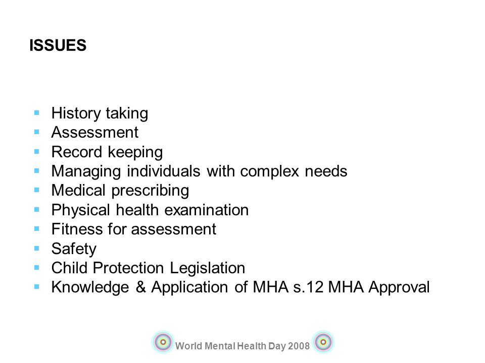 ISSUES History taking. Assessment. Record keeping. Managing individuals with complex needs. Medical prescribing.