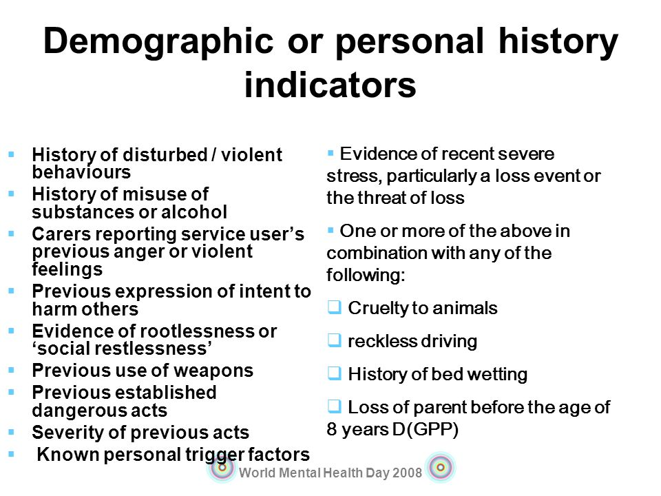 Demographic or personal history indicators