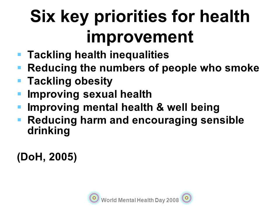 Six key priorities for health improvement