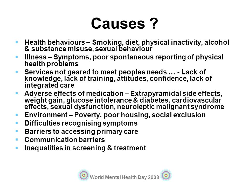 Causes Health behaviours – Smoking, diet, physical inactivity, alcohol & substance misuse, sexual behaviour.