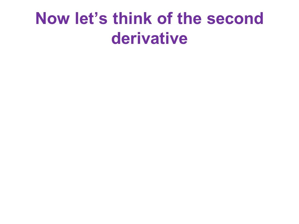 Now let's think of the second derivative