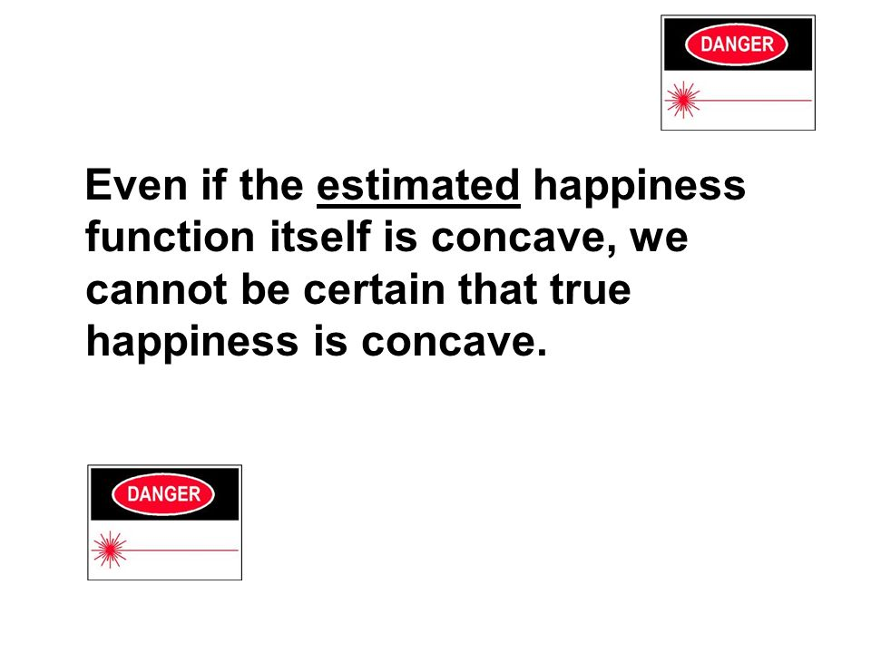 Even if the estimated happiness function itself is concave, we cannot be certain that true happiness is concave.