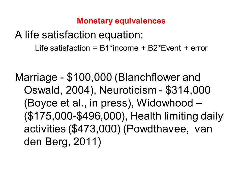 Monetary equivalences