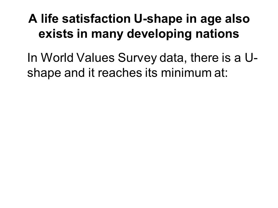 A life satisfaction U-shape in age also exists in many developing nations