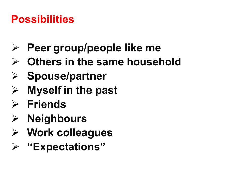 Possibilities Peer group/people like me. Others in the same household. Spouse/partner. Myself in the past.