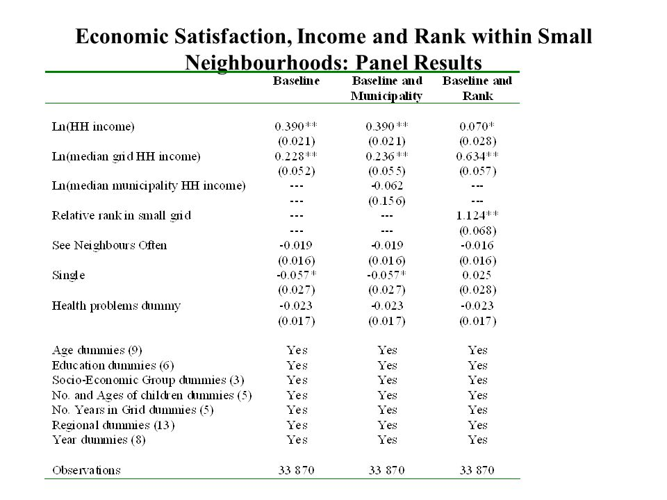 Economic Satisfaction, Income and Rank within Small Neighbourhoods: Panel Results