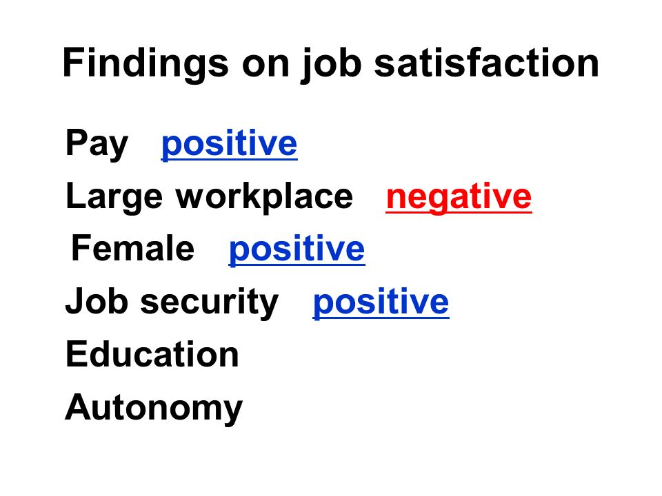 Findings on job satisfaction