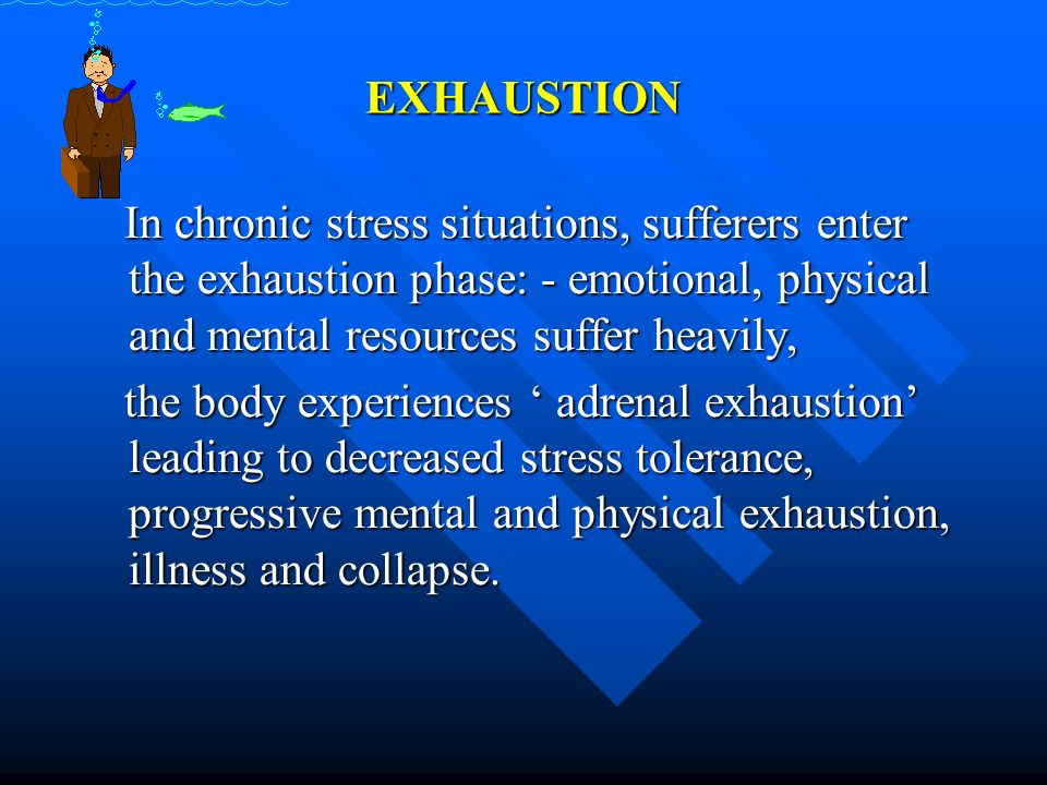 EXHAUSTION In chronic stress situations, sufferers enter the exhaustion phase: - emotional, physical and mental resources suffer heavily,