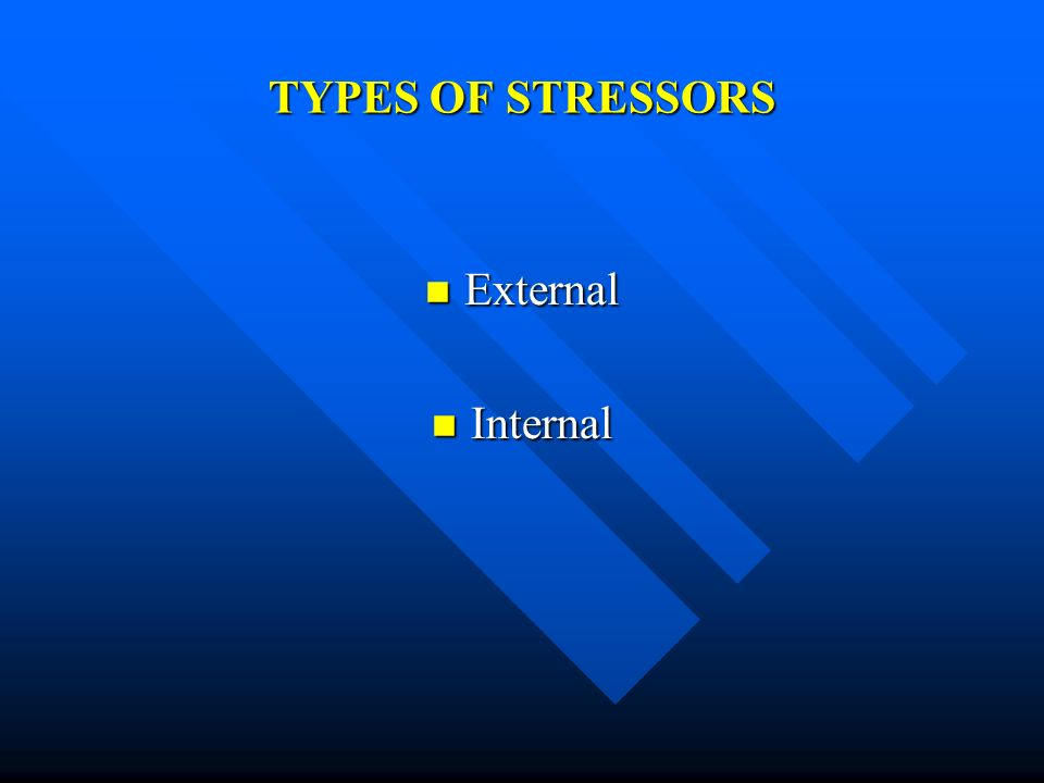 TYPES OF STRESSORS External Internal