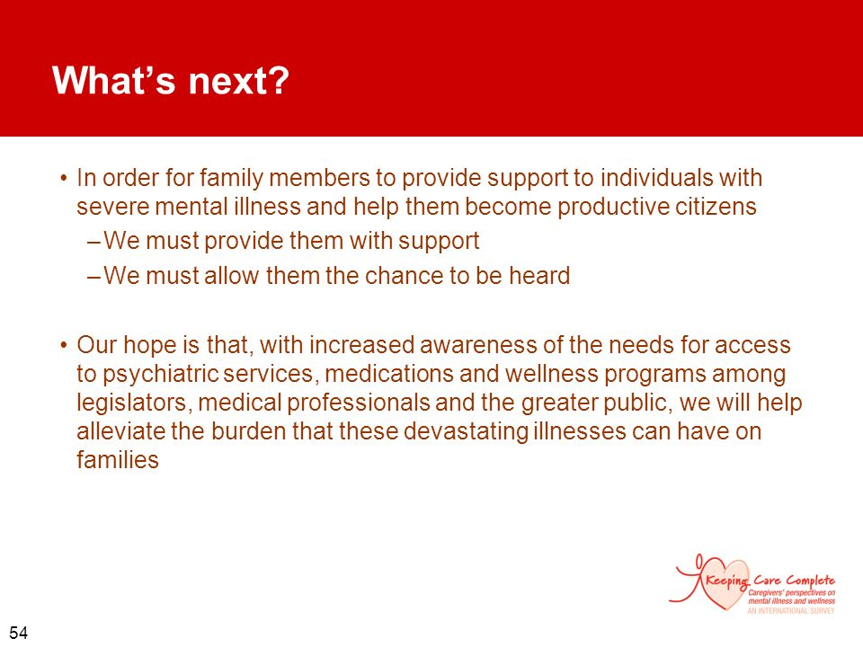 What's next In order for family members to provide support to individuals with severe mental illness and help them become productive citizens.