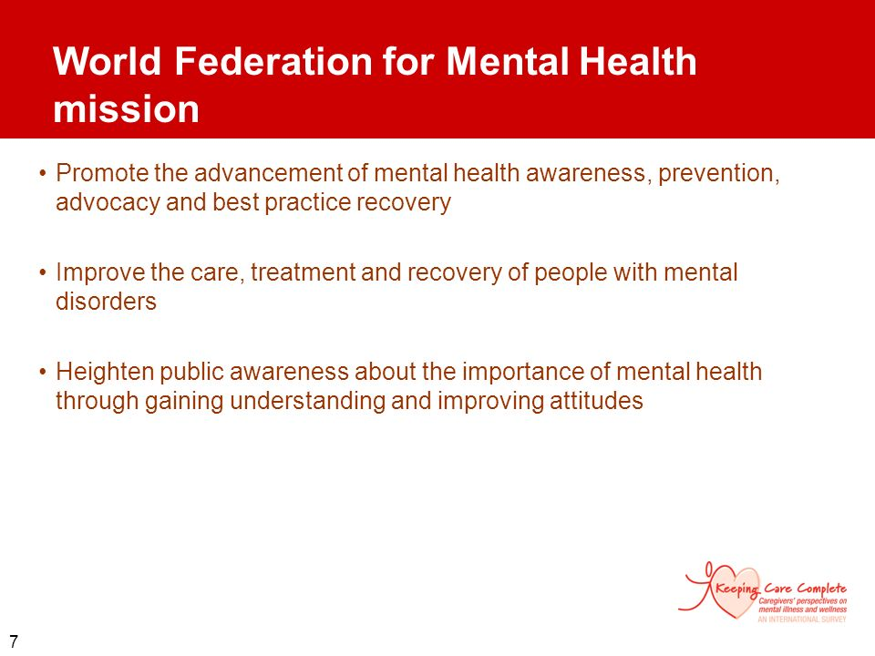 World Federation for Mental Health mission