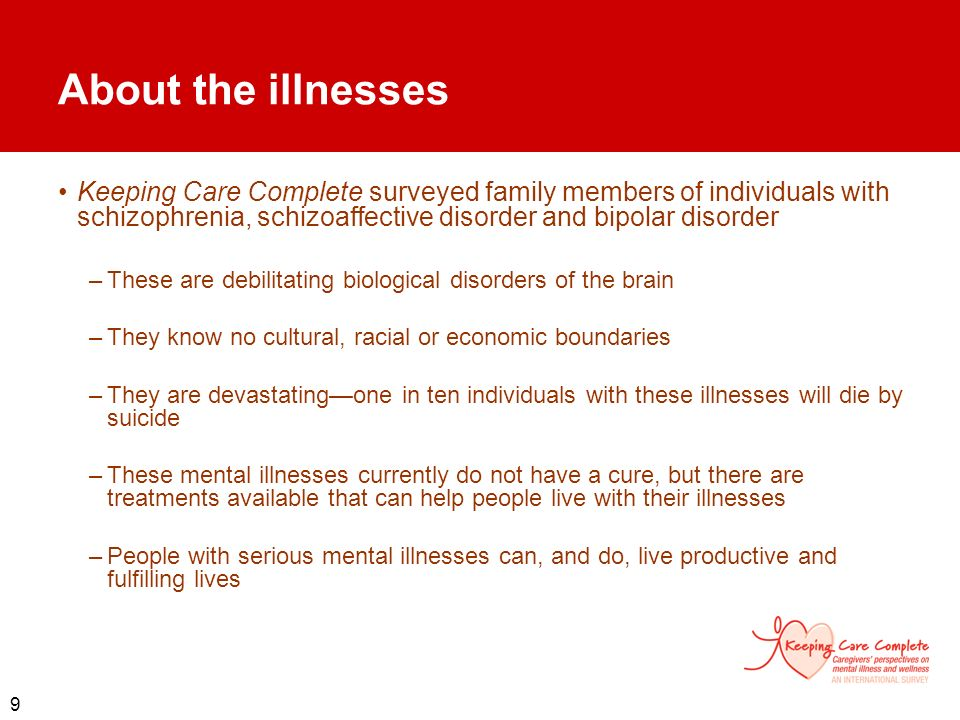 About the illnesses Keeping Care Complete surveyed family members of individuals with schizophrenia, schizoaffective disorder and bipolar disorder.