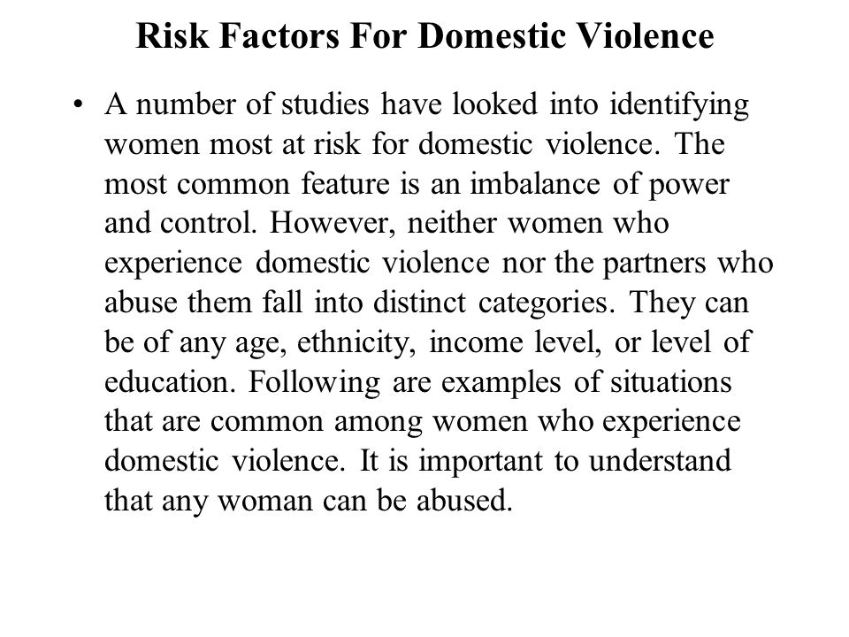 Risk Factors For Domestic Violence