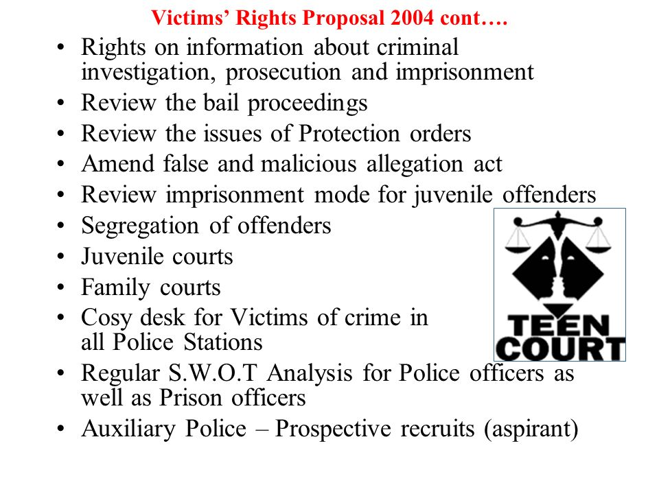 Victims' Rights Proposal 2004 cont….