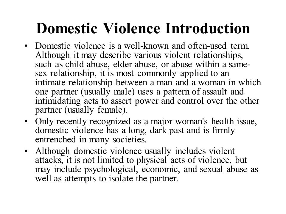 Domestic Violence Introduction