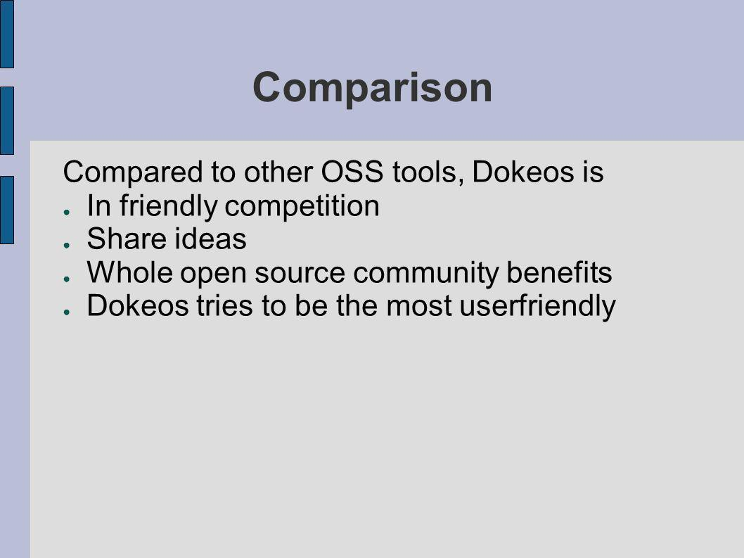 Comparison Compared to other OSS tools, Dokeos is