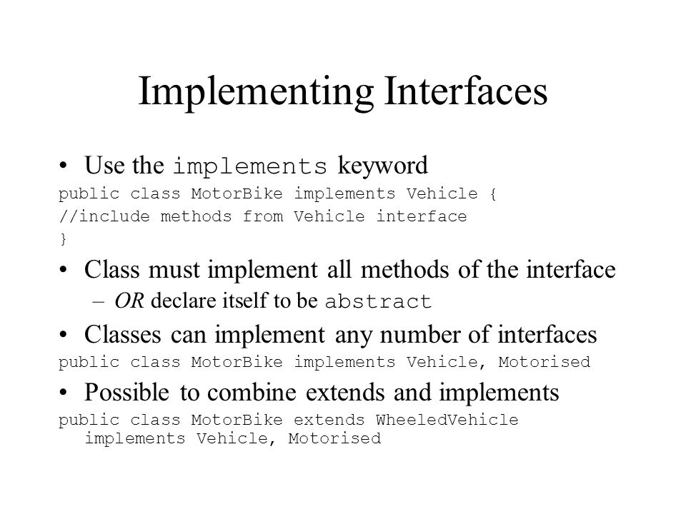 Implementing Interfaces