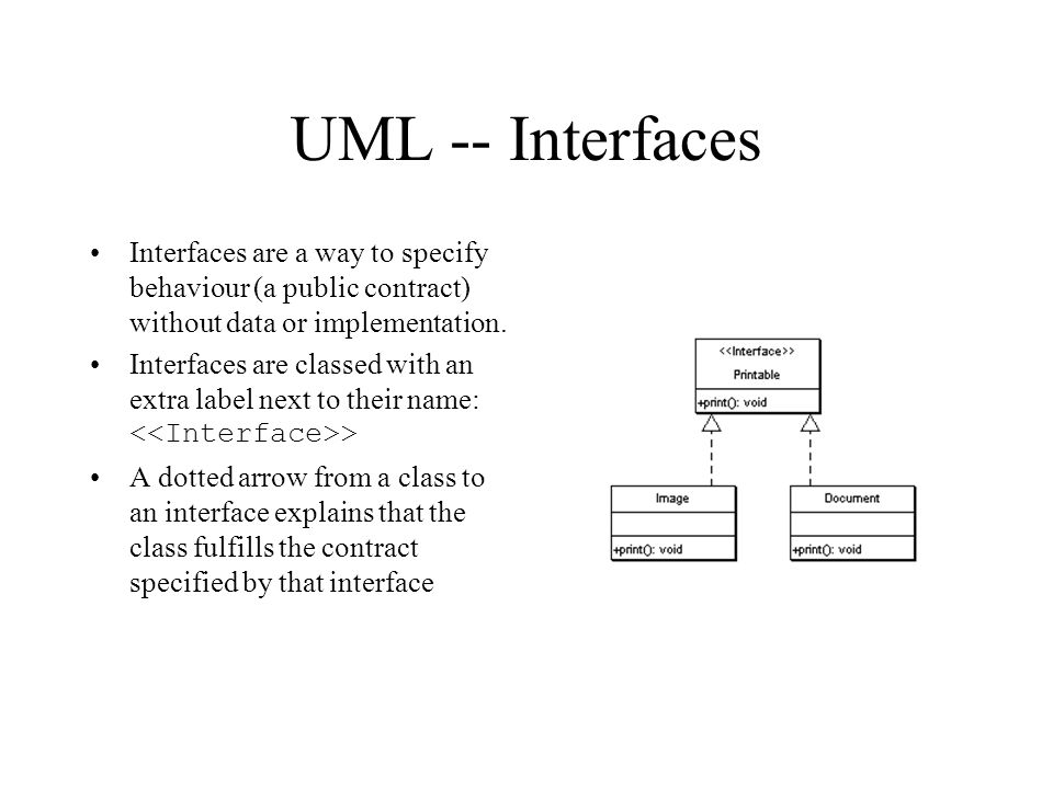 UML -- Interfaces Interfaces are a way to specify behaviour (a public contract) without data or implementation.