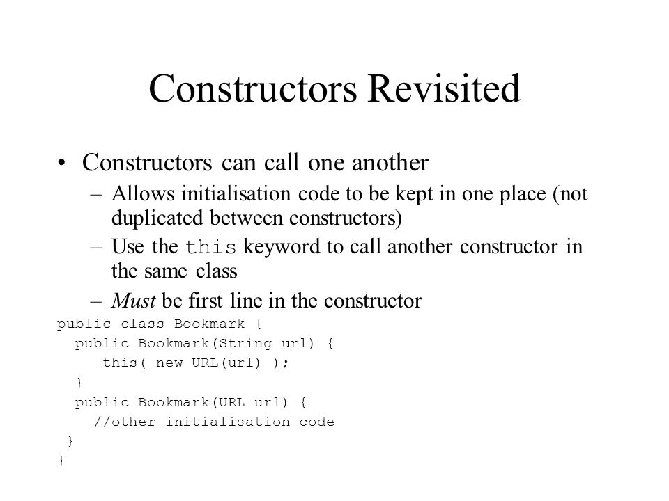 Constructors Revisited