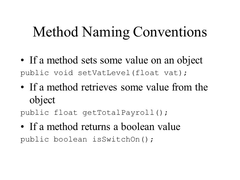 Method Naming Conventions