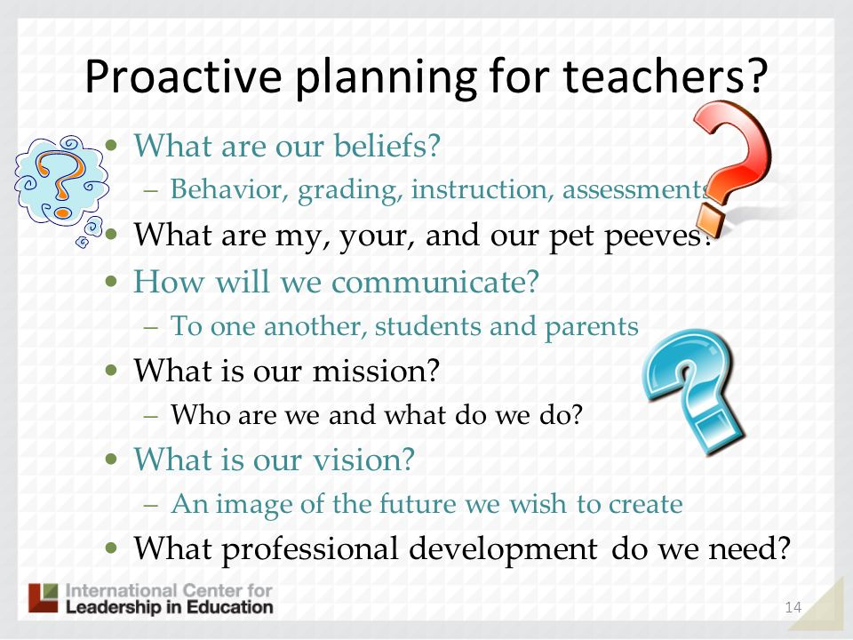 Proactive planning for teachers